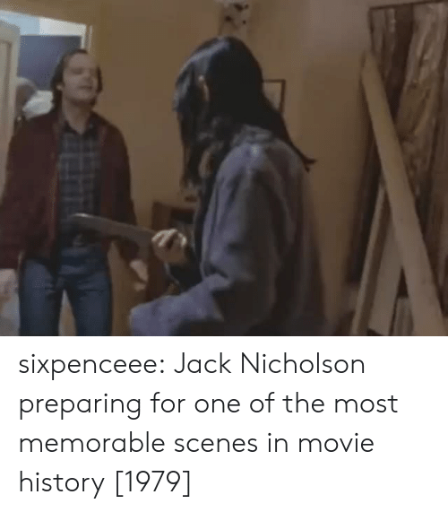 Jack Nicholson: sixpenceee:  Jack Nicholson preparing for one of the most memorable scenes in movie history [1979]