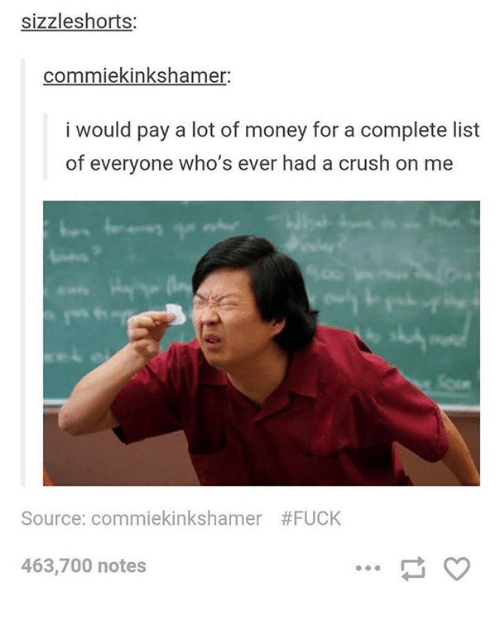 list ofs: sizzleshorts:  commiekinkshamer:  i would pay a lot of money for a complete list  of everyone who's ever had a crush on me  Source: commekinkshamer  #FUCK  463,700 notes