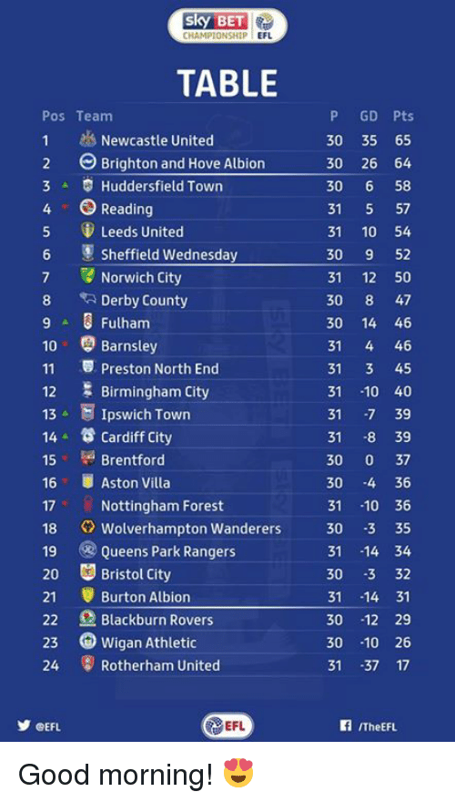 brightons: SKY BET  CHAMPIONSHIP  EFL  TABLE  Pos Team  1 Newcastle United  2 Brighton and Hove Albion  3 A S Huddersfield Town  4 O Reading  5 Leeds United  Sheffield Wednesday  7 Norwich City  8 Derby County  9 Fulham  10 Barnsley  11 Preston North End  Birmingham City  12  13 A E Ipswich Town  14 Cardiff City  Brentford  15  16 Aston Villa  17 Nottingham Forest  18 Wolverhampton Wanderers  19 Queens Park Rangers  20 Bristol City  21 Burton Albion  22 Blackburn Rovers  23 Wigan Athletic  24 Rotherham United  EFL  CEFL  P GD Pts  30 35 65  30 26 64  30  6 58  31  57  31  10 54  30  9 52  31  12 50  30  8 47  30 14 46  31  4 46  31  3 45  31  10 40  31  -7 39  31  8 39  30  0 37  30  4 36  31  10 36  30 -3 35  31 14 34  30  -3 32  31 14 31  30  12 29  30  10 26  31  37 17  ITheEFL. Good morning! 😍