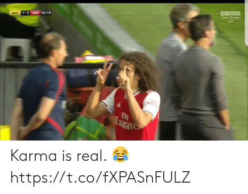 Soccer, Wat, and Karma: sky os  P  cEvE  WAT 1-2 ARS 66:18  Fy  Emtrates Karma is real. 😂 https://t.co/fXPASnFULZ