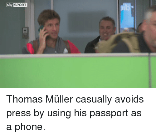Mullered: Sky SPORT Thomas Müller​ casually avoids press by using his passport as a phone.