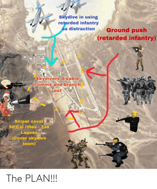 skydive: Skydive in using  retarded infantry  as distraction  Ground push  (retarded infantry)  Skydivers disable  comms and branch  out  Sniper cover  50% Cal rifles-338  Lapuas  (Cover skydive  team) The PLAN!!!