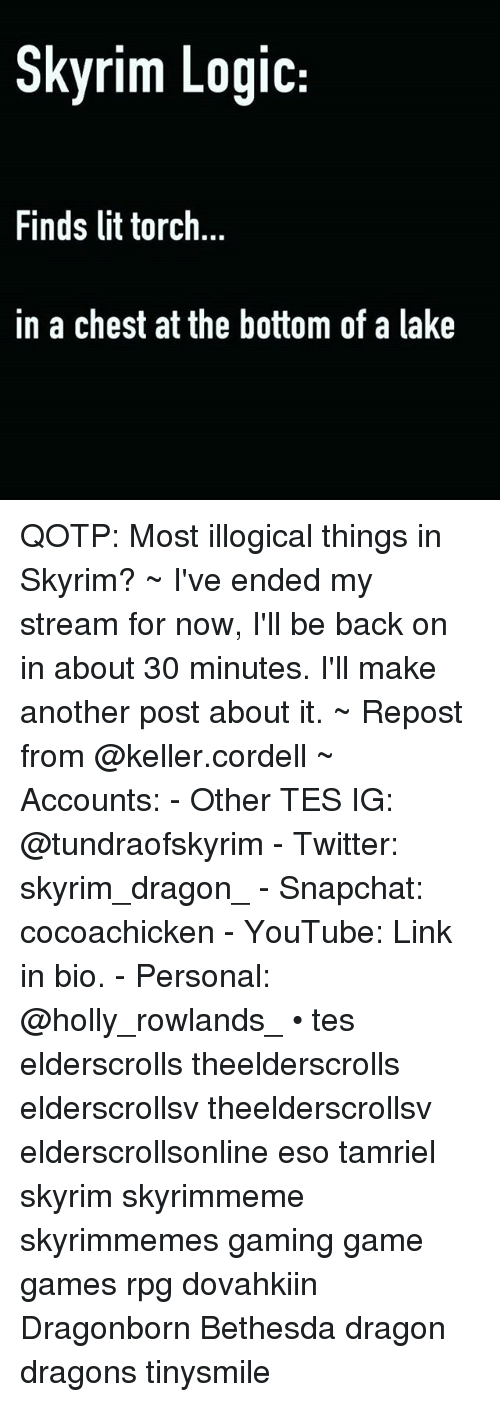 Lit, Logic, and Skyrim: Skyrim Logic  Finds lit torch  in a chest at the bottom of a lake QOTP: Most illogical things in Skyrim? ~ I've ended my stream for now, I'll be back on in about 30 minutes. I'll make another post about it. ~ Repost from @keller.cordell ~ Accounts: - Other TES IG: @tundraofskyrim - Twitter: skyrim_dragon_ - Snapchat: cocoachicken - YouTube: Link in bio. - Personal: @holly_rowlands_ • tes elderscrolls theelderscrolls elderscrollsv theelderscrollsv elderscrollsonline eso tamriel skyrim skyrimmeme skyrimmemes gaming game games rpg dovahkiin Dragonborn Bethesda dragon dragons tinysmile