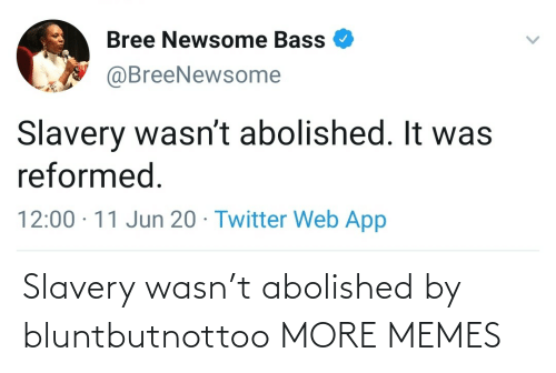Wasn: Slavery wasn't abolished by bluntbutnottoo MORE MEMES
