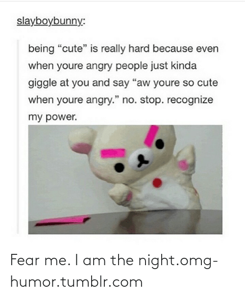 "I Am The Night: slayboybunny:  being ""cute"" is really hard because even  when youre angry people just kinda  giggle at you and say ""aw youre so cute  when youre angry."" no. stop. recognize  my power. Fear me. I am the night.omg-humor.tumblr.com"