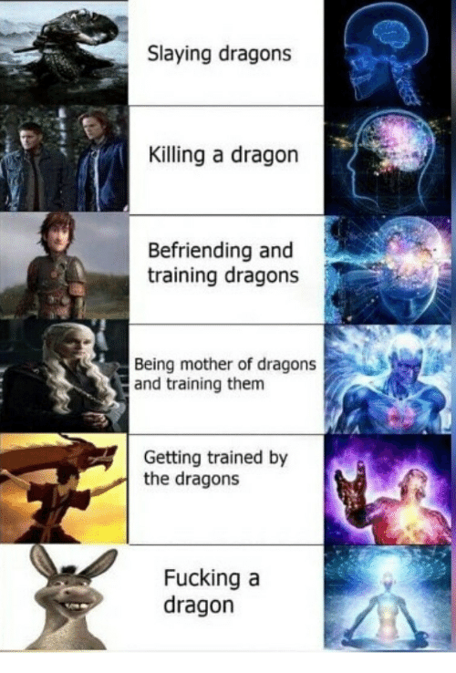 Fucking, Dragons, and Dragon: Slaying dragons  Killing a dragon  Befriending and  training dragons  Being mother of dragons  and training them  Getting trained by  the dragons  Fucking a  dragon