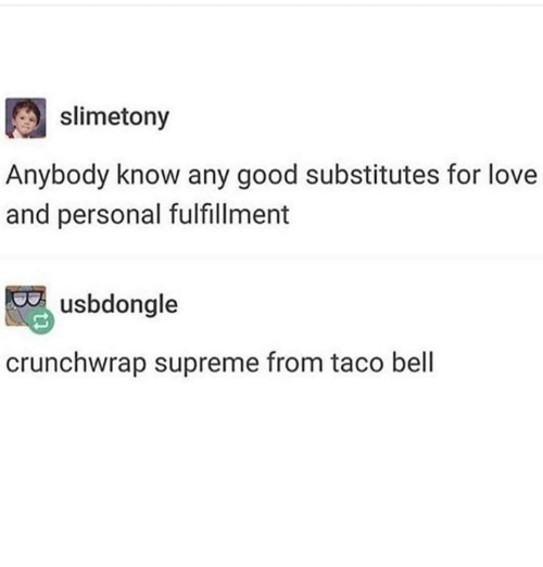 Love, Supreme, and Taco Bell: slimetony  Anybody know any good substitutes for love  and personal fulfillment  usbdongle  crunchwrap supreme from taco bell