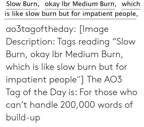 """Quot: Slow Burn, okay Ibr Medium Burn, which  is like slow burn but for impatient people, ao3tagoftheday:  [Image Description: Tags reading """"Slow Burn, okay lbr Medium Burn, which is like slow burn but for impatient people""""]  The AO3 Tag of the Day is: For those who can't handle 200,000 words of build-up"""