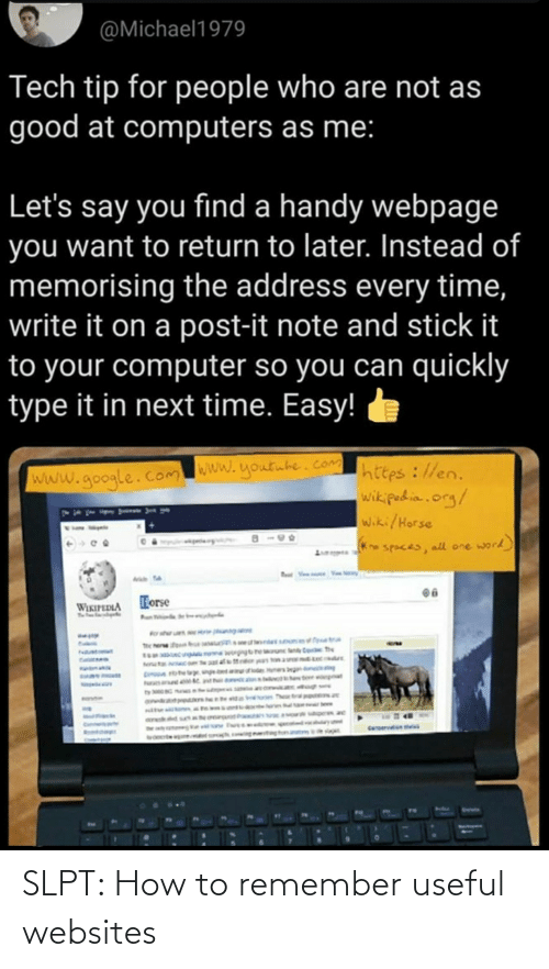 remember: SLPT: How to remember useful websites
