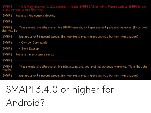 Android: SMAPI 3.4.0 or higher for Android?