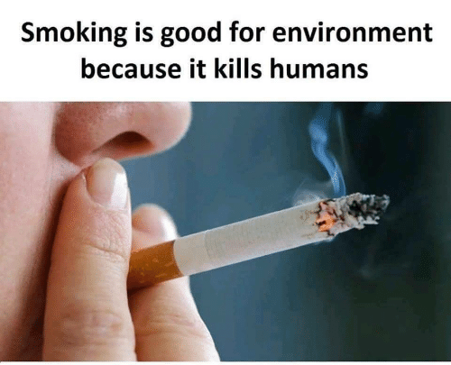 Smoking, Good, and For: Smoking is good for environment  because it kills humans