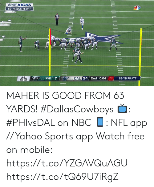 phi: SNF KICKS  63-YARD ATTEMPT  3-3 DAL 24 2nd 0:04  63-YD FG ATT  :07  3-3 PHI MAHER IS GOOD FROM 63 YARDS! #DallasCowboys  📺: #PHIvsDAL on NBC 📱: NFL app // Yahoo Sports app Watch free on mobile: https://t.co/YZGAVQuAGU https://t.co/tQ69U7iRgZ