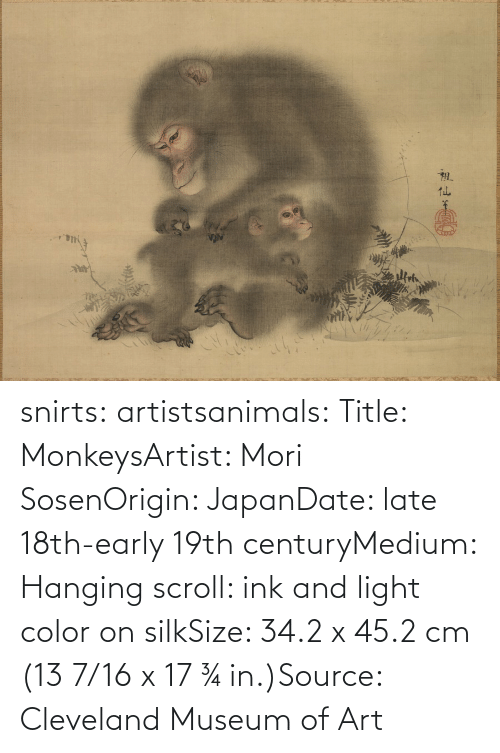 medium: snirts: artistsanimals: Title: MonkeysArtist: Mori SosenOrigin: JapanDate: late 18th-early 19th centuryMedium: Hanging scroll: ink and light color on silkSize: 34.2 x 45.2 cm (13 7/16 x 17 ¾ in.)Source: Cleveland Museum of Art