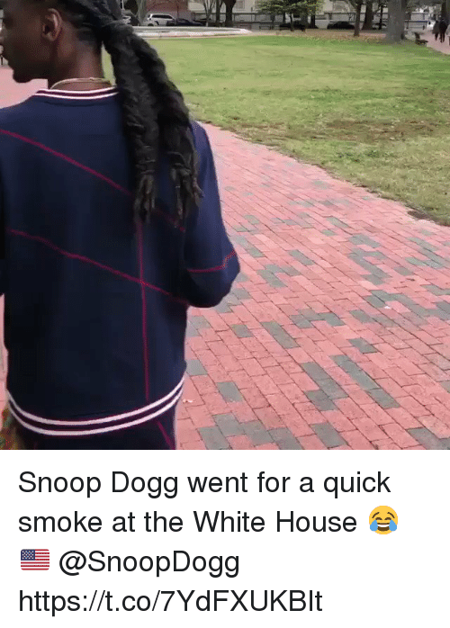 Snoop, Snoop Dogg, and White House: Snoop Dogg went for a quick smoke at the White House 😂🇺🇸 @SnoopDogg https://t.co/7YdFXUKBIt