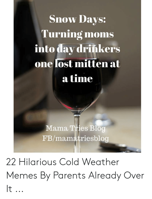 Memes, Moms, and Parents: Snow Davs:  Turning moms  into dav drińkers  onelost mitten at  a time  Mama Tries Blog  FB/mamatriesblog 22 Hilarious Cold Weather Memes By Parents Already Over It ...