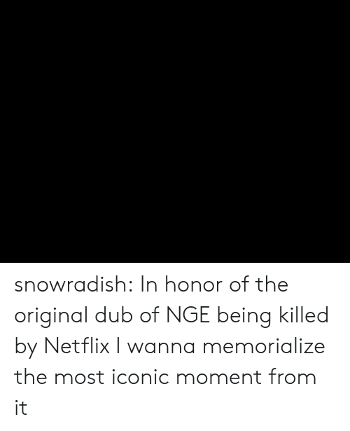 In Honor Of: snowradish:  In honor of the original dub of NGE being killed by Netflix I wanna memorialize the most iconic moment from it