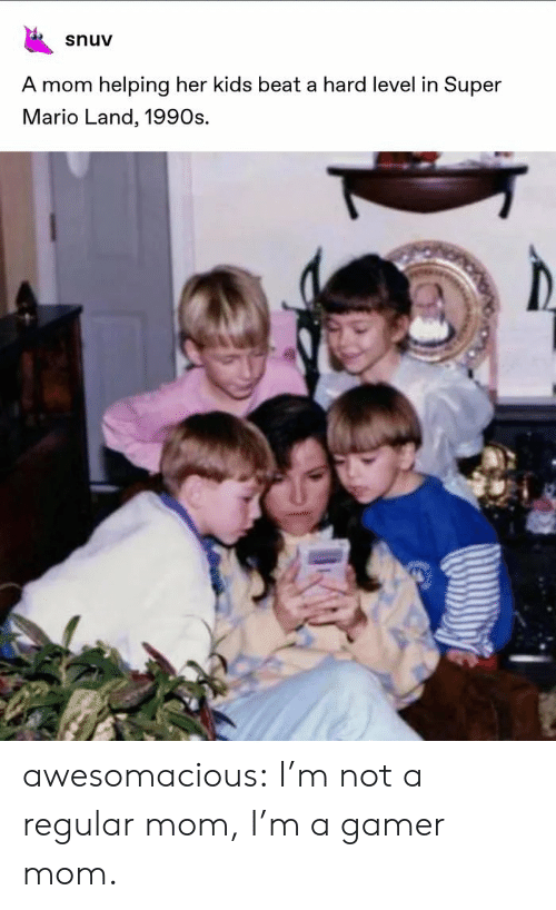 Super Mario: snuv  A mom helping her kids beat a hard level in Super  Mario Land, 1990s. awesomacious:  I'm not a regular mom, I'm a gamer mom.
