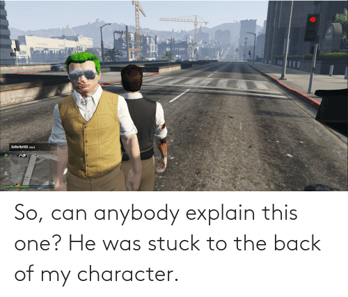 anybody: So, can anybody explain this one? He was stuck to the back of my character.