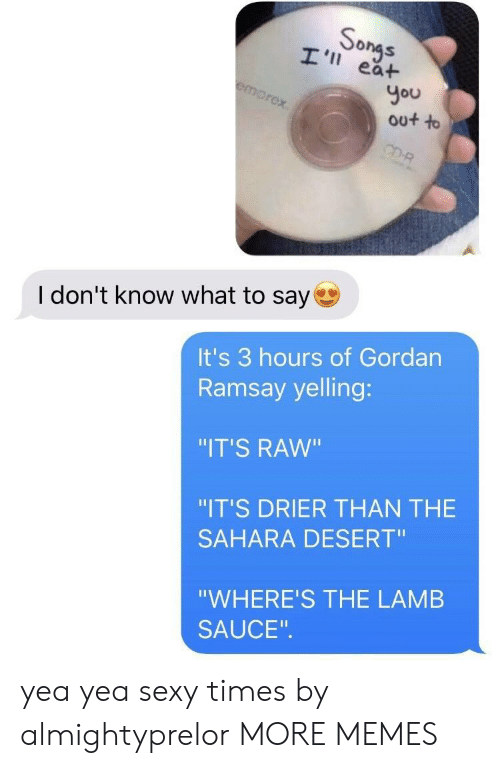 """Dank, Memes, and Sexy: So  ea+  You  out to  I don't know what to say  It's 3 hours of Gordan  Ramsay yelling:  """"IT'S RAW""""  """"IT'S DRIER THAN THE  SAHARA DESERT""""  """"WHERE'S THE LAMB  SAUCE yea yea sexy times by almightyprelor MORE MEMES"""