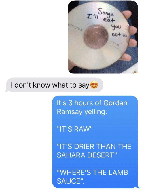 "Ramsay: So  ea+  You  out to  I don't know what to say  It's 3 hours of Gordan  Ramsay yelling:  ""IT'S RAW""  ""IT'S DRIER THAN THE  SAHARA DESERT""  ""WHERE'S THE LAMB  SAUCE"