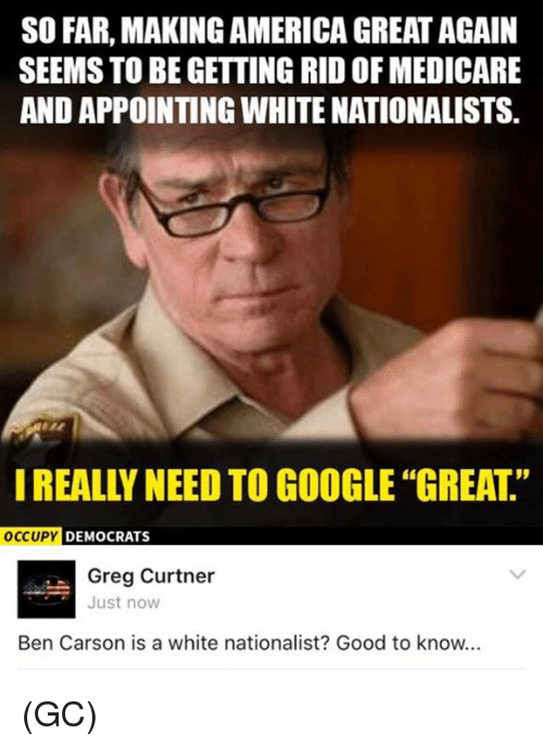 America, Ben Carson, and Memes: SO FAR, MAKING AMERICA GREAT AGAIN  SEEMS TO BE GETTING RIDOF MEDICARE  AND APPOINTING WHITE NATIONALISTS.  OCCUPY  DEMOCRATS  Greg Curtner  Just now  Ben Carson is a white nationalist? Good to know... (GC)