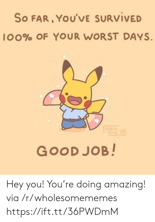 R Wholesomememes: So FAR, YOU'VE SURVIVED  l00% OF YOUR WORST DAYS  Gire 19  GOOD JOB! Hey you! You're doing amazing! via /r/wholesomememes https://ift.tt/36PWDmM