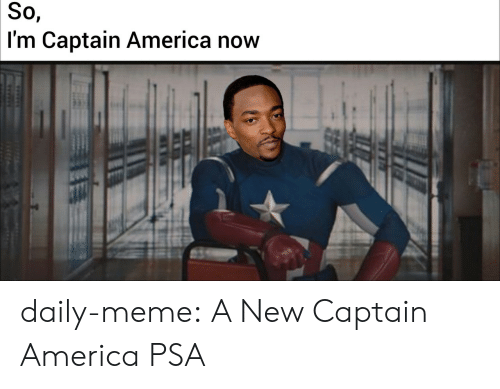 America, Meme, and Tumblr: So,  I'm Captain America now daily-meme:  A New Captain America PSA
