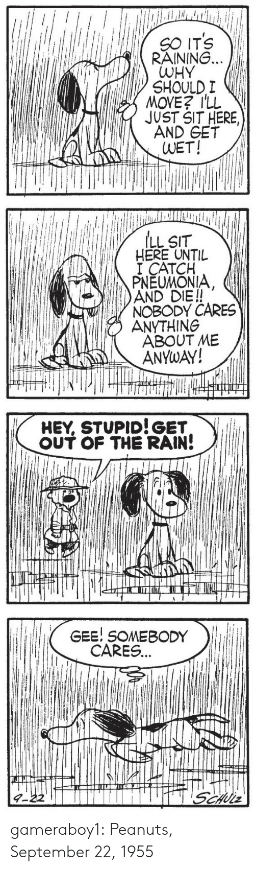 gee: SO ITS VI  RAINING.  WHY  SHOULD I  MOVE? ILL  JUST SIT HERE,  AND GET  WET!   ILL SIT  HERE UNTIL  I CATCH  PNEUMONIA  AND DIE!!  NOBODY CARES  ANYTHING  ABOUT ME  ANYwAY!   HEY, STUPID!GET  。UT OF THE RAIN!   GEE! SOMEBODY  CARES... gameraboy1:  Peanuts, September 22, 1955
