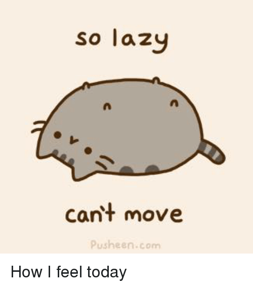 Pusheens: so lazy  cant move  Pusheen.com How I feel today