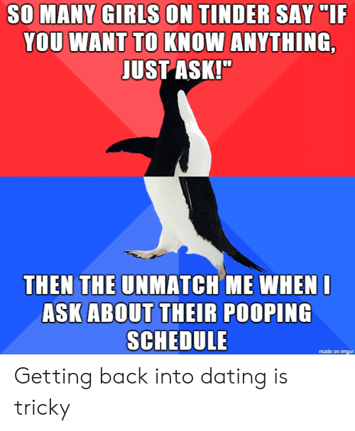 """Girls On Tinder: SO MANY GIRLS ON TINDER SAY """"IF  YOU WANT TO KNOW ANYTHING,  JUST ASK!""""  THEN THE UNMATCH ME WHENI  ASK ABOUT THEIR POOPING  SCHEDULE  made on imgur Getting back into dating is tricky"""