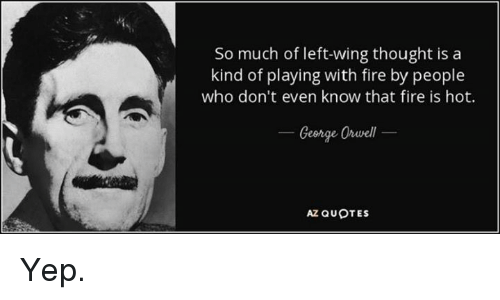 Fire, Memes, and Quotes: So much of left-wing thought is a  kind of playing with fire by people  who don't even know that fire is hot.  Ceorge Orvell  AZ QUOTES Yep.