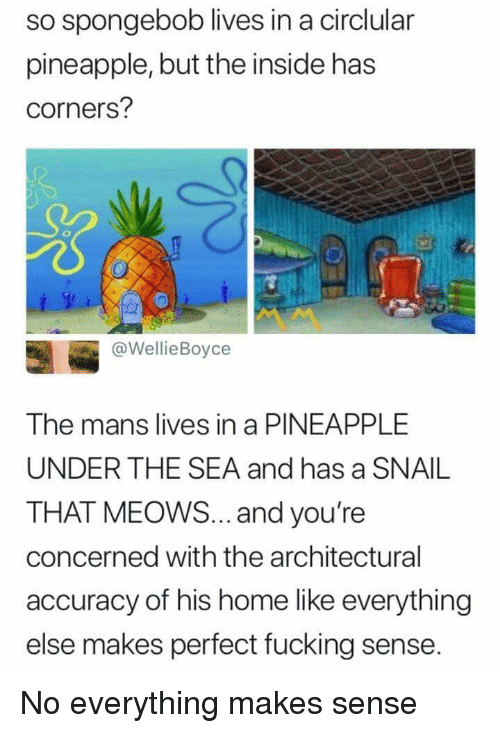 Fucking, SpongeBob, and Home: so spongebob lives in a circlular  pineapple, but the inside has  corners?  @WellieBoyce  The mans lives in a PINEAPPLE  UNDER THE SEA and has a SNAIL  THAT MEOWS... and you're  concerned with the architectural  accuracy of his home like everything  else makes perfect fucking sense. No everything makes sense