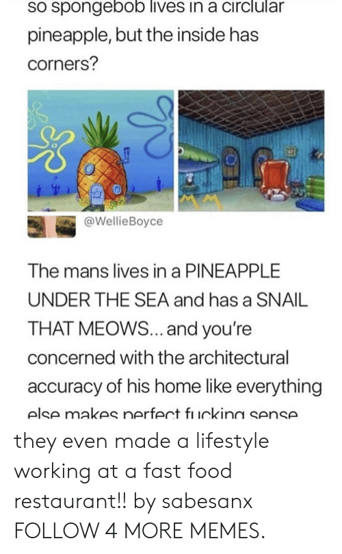 fast-food-restaurant: sO spongebob lives in a circlular  pineapple, but the inside has  corners?  @WellieBoyce  The mans lives in a PINEAPPLE  UNDER THE SEA and has a SNAIL  THAT MEOWS... and you're  concerned with the architectural  accuracy of his home like everything  else makes nerfect fı uckina sense. they even made a lifestyle working at a fast food restaurant!! by sabesanx FOLLOW 4 MORE MEMES.