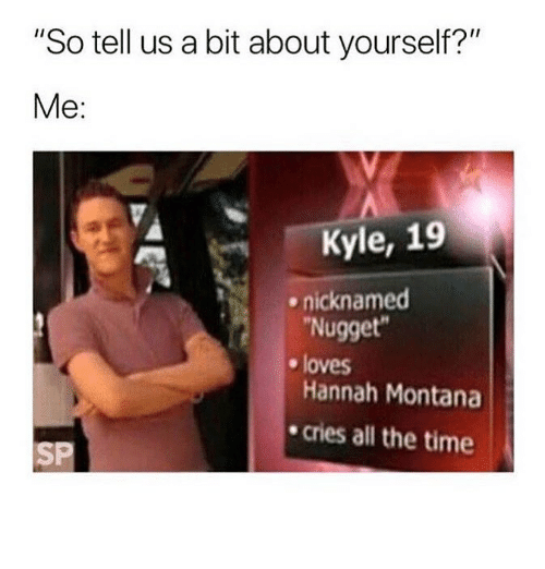 """Hannah Montana: """"So tell us a bit about yourself?""""  Me:  Kyle, 19  Nugget  Hannah Montana  cries all the time  ^  nicknamed  e loves  SP"""