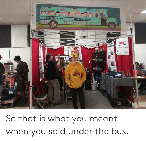 under the bus: So that is what you meant when you said under the bus.