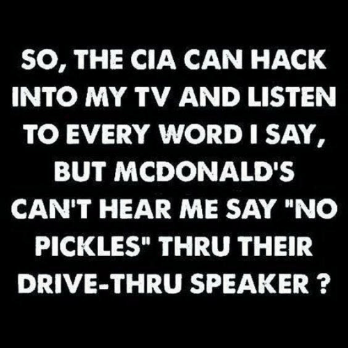 """pickles: SO, THE CIA CAN HACK  INTO MY TV AND LISTEN  TO EVERY WORD I SAY  BUT MCDONALD'S  CAN'T HEAR ME SAY """"NO  PICKLES"""" THRU THEIR  DRIVE-THRU SPEAKER ?"""
