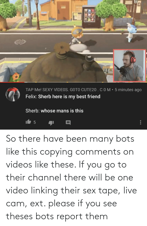 linking: So there have been many bots like this copying comments on videos like these. If you go to their channel there will be one video linking their sex tape, live cam, ext. please if you see theses bots report them