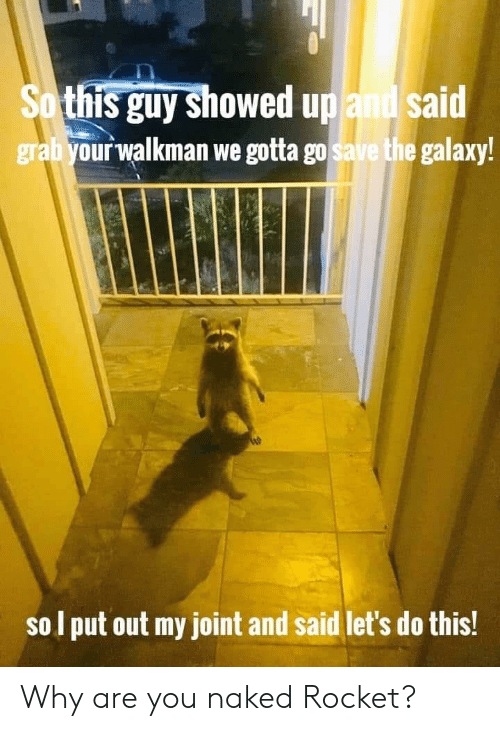 The Galaxy: So this guy showed up and said  grabyour walkman we gotta go save the galaxy!  sol put out my joint and said let's do this! Why are you naked Rocket?