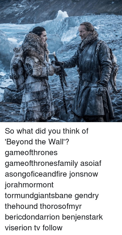 Memes, Asoiaf, and 🤖: So what did you think of 'Beyond the Wall'? gameofthrones gameofthronesfamily asoiaf asongoficeandfire jonsnow jorahmormont tormundgiantsbane gendry thehound thorosofmyr bericdondarrion benjenstark viserion tv follow