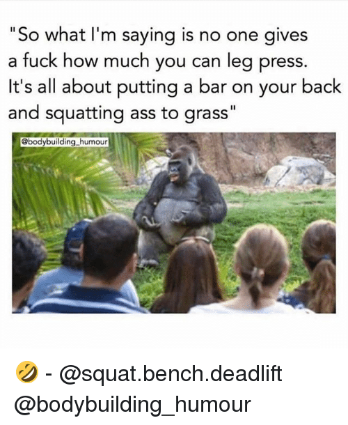 """Grasse: """"So what l'm saying is no one gives  a fuck how much you can leg press.  It's all about putting a bar on your back  and squatting ass to grass""""  @bodybuilding_humour 🤣 - @squat.bench.deadlift @bodybuilding_humour"""