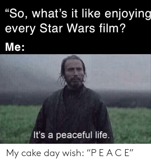 """Life, Star Wars, and Cake: """"So, what's it Ilike enjoying  every Star Wars film?  Мe:  It's a peaceful life. My cake day wish: """"P E A C E"""""""