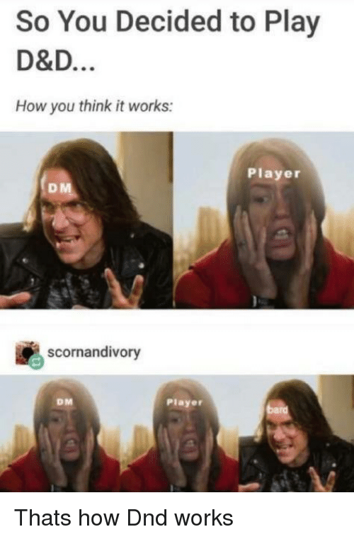 DnD, How, and D&d: So You Decided to Play  D&D  How you think it works:  Player  scornandivory  DM  Player Thats how Dnd works