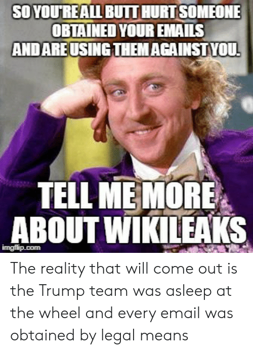 Email, Trump, and Reality: SO YOUREALL BUIT HURTSOMEONE  OBTAINED YOUR EMAILS  AND AREUSINGTHEMAGAINSTYOU  TELL ME MORE  ABOUT WİKILEAKS The reality that will come out is the Trump team was asleep at the wheel and every email was obtained by legal means