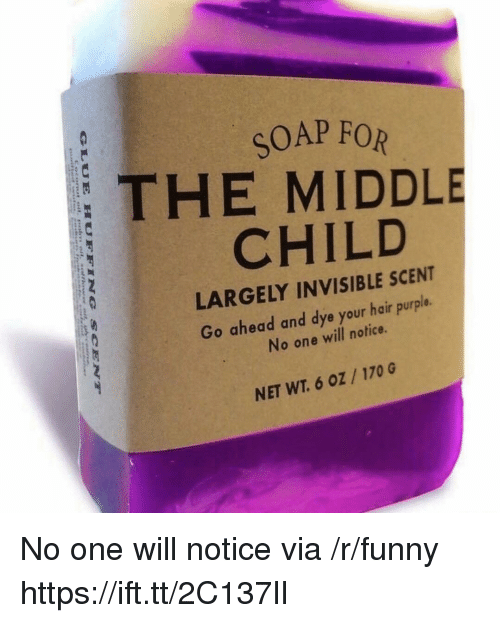 middle child: SOAP FOR  THE MIDDLE  CHILD  LARGELY INVISIBLE SCENT  Go ahead and dye your hair purple.  No one will notice.  NET WT. 6 oZ /170 G No one will notice via /r/funny https://ift.tt/2C137lI