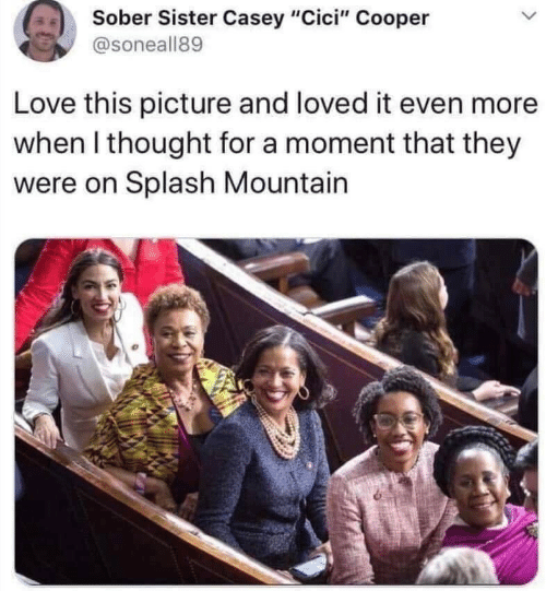 "Sober: Sober Sister Casey ""Cici"" Cooper  @soneall89  Love this picture and loved it even more  when I thought for a moment that they  were on Splash Mountain"