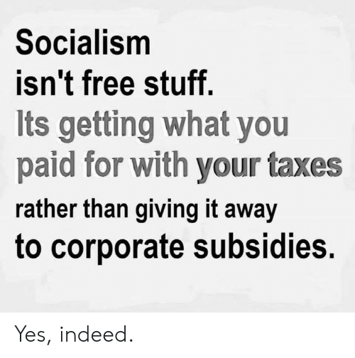 Memes, Taxes, and Free: Socialism  isn't free stuff  Its getting what you  paid for with your taxes  rather than giving it away  to corporate subsidies. Yes, indeed.