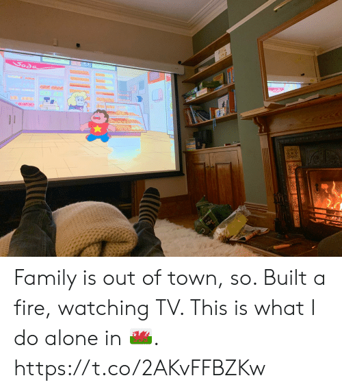 soda: Soda Family is out of town, so.  Built a fire, watching TV.  This is what I do alone in 🏴. https://t.co/2AKvFFBZKw