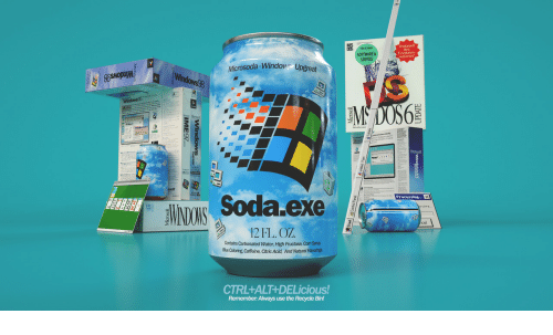 rao: SOFTWARE&  SERVICE  Festplatten-  kapazinat  Microsoda-Window Upgreat  Iu  Soda exe  Processing  12FL. OZ  Contains Carbonated Water, High Fructose, Com Synup  BueColoring Caffeine, Citric Acid, And Natural Rao  CTRL+ALT+DELicious!  Remember: Always use the Recycle Bin!
