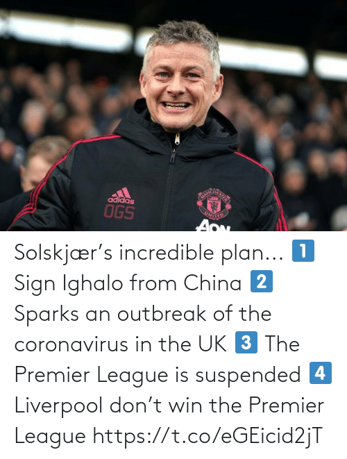 premier: Solskjær's incredible plan...  1⃣ Sign Ighalo from China 2⃣ Sparks an outbreak of the coronavirus in the UK 3⃣ The Premier League is suspended 4⃣ Liverpool don't win the Premier League https://t.co/eGEicid2jT