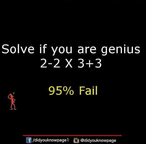 Fail, Memes, and Genius: Solve if you are genius  2-2 X 3+3  95% Fail  f/didyouknowpagel@didyouknowpage